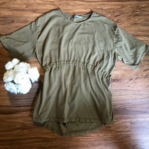Zara Olive Tee with Ribbon Detail